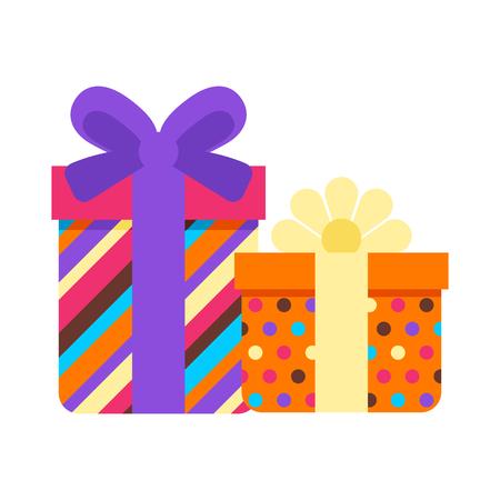 Happy Birthday gift boxes. Festive icon or illustration.