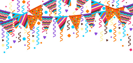 Greeting card with garland of flags. Celebration holiday background. Ilustrace