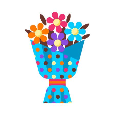 Happy Birthday flower bouquet gift. Festive icon or illustration. Ilustrace