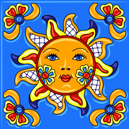 Mexican talavera ceramic tile pattern. Traditional decorative objects.