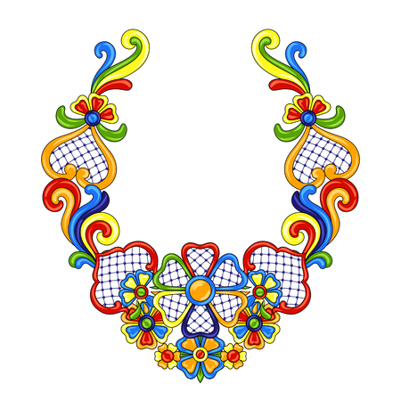 Mexican decoration with ornamental flowers. Ilustrace