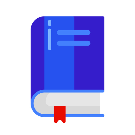 Icon of school book with bookmark in flat style.