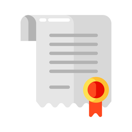 Icon of certificate in flat style