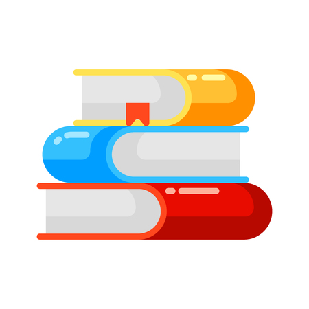 Icon stack of books in flat style