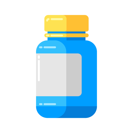 Can of pills icon in flat style. Banque d'images - 123252622