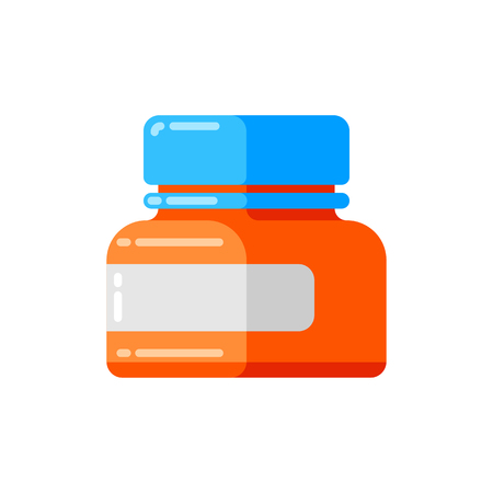Can of pills icon in flat style. Banque d'images - 123252626