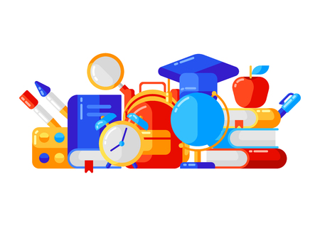 School  with education icons and symbols.
