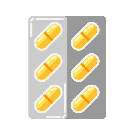 Blister with pills icon in flat style