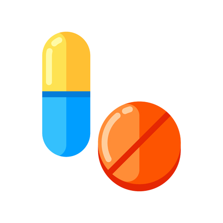 Tablet and capsule in flat style.