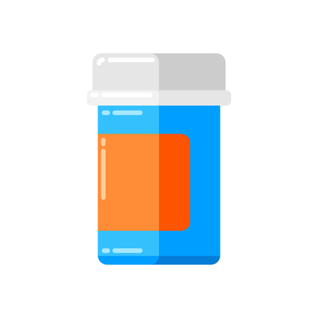 Can of pills icon in flat style.