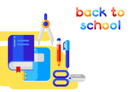 Back to school  with education icons. Illustration