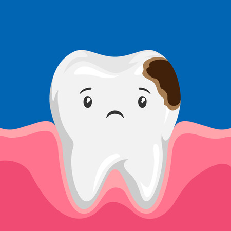 Illustration of sick tooth with caries. Children dentistry sad character. Ilustrace