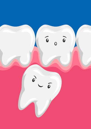 Illustration of molar squeezes out baby tooth. Children dentistry worried characters. Ilustrace