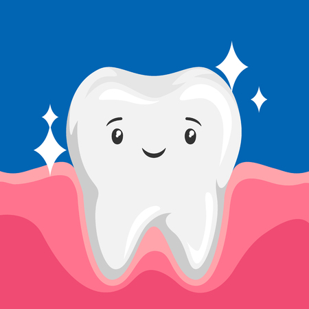 Illustration of smiling clean healthy tooth. Children dentistry happy character