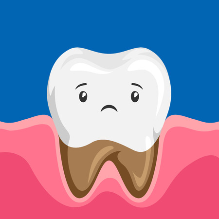 Illustration of sick tooth with caries. Children dentistry sad character. Illustration