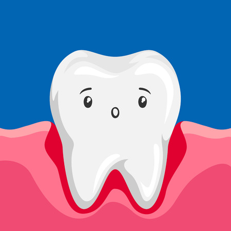 Illustration of sick tooth with inflamed gums. Children dentistry sad character.