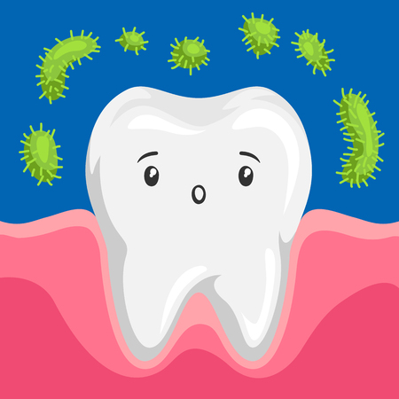 Illustration of tooth with bacteria in mouth. Children dentistry sad character.