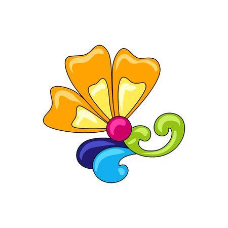 Mexican ornamental flower. Traditional decorative object. Talavera ceramic pattern. Ethnic folk ornament. Ilustrace