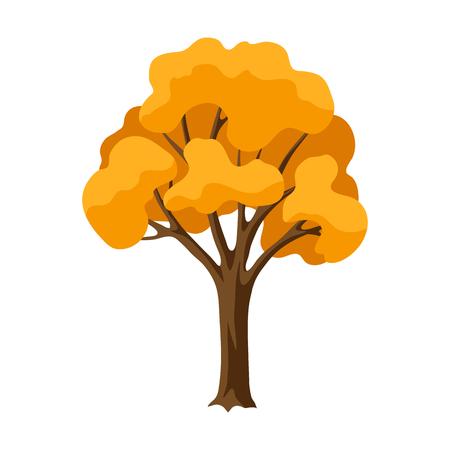 Autumn stylized tree. Natural abstract decorative illustration.
