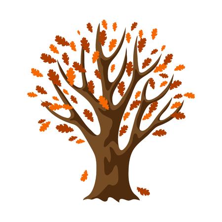 Autumn stylized tree with falling leaves. Natural decorative illustration. Ilustrace