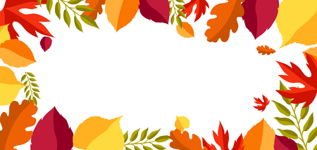 Card with stylized autumn foliage. Falling leaves in simple style.