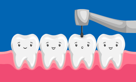 Illustration of tooth drilled by dental drill. Children dentistry characters. Çizim