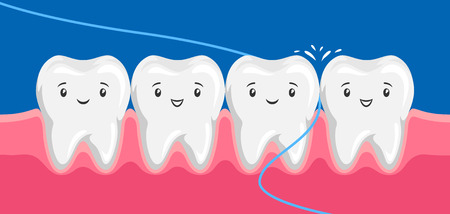 Illustration of smiling are flossing in oral cavity. Çizim