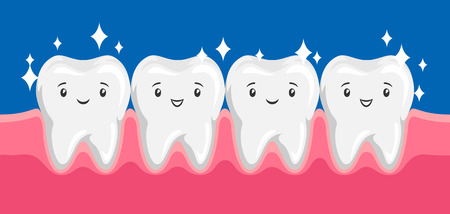 Illustration of smiling clean healthy teeth in oral cavity.