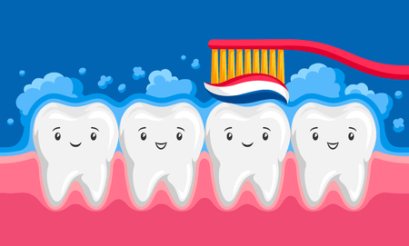 Illustration of smiling clean teeth brushing paste in oral cavity. Children dentistry happy characters. Çizim