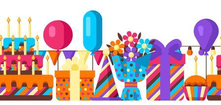 Happy Birthday seamless pattern. Celebration or holiday items.