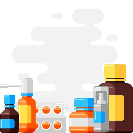 Design with medicine bottles and pills. Imagens - 125327976