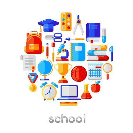 Contexte scolaire avec des icônes et des symboles de l'éducation. Illustration dans un style plat tendance.