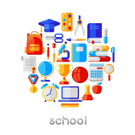 School background with education icons and symbols. Illustration in trendy flat style. Vettoriali