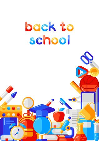 Back to school background with education icons. Illustration in trendy flat style.