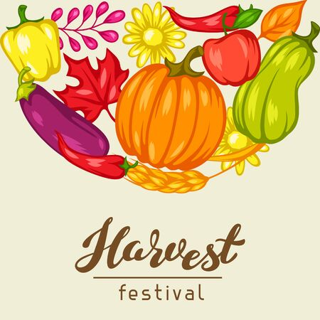 Harvest festival  with fruits and vegetables. Illustration