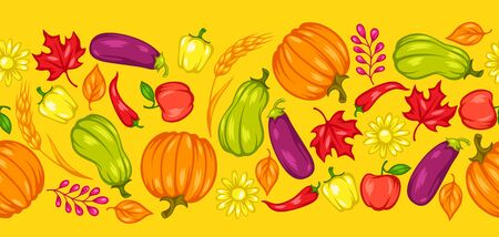 Harvest seamless pattern with fruits and vegetables.