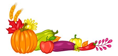 Harvest decorative element with fruits and vegetables.