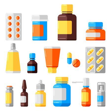 Set of medicine bottles and pills. Vector Illustratie