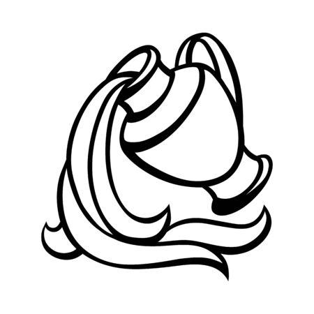 Signe du zodiaque Verseau, symbole horoscope noir Vecteurs