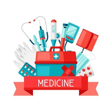 Medical instruments for emergency assistance. Illustration