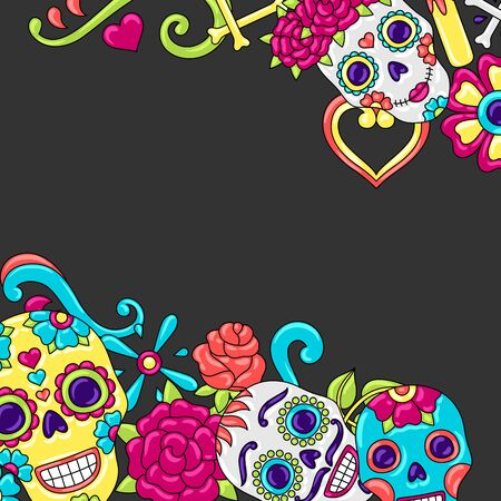 Day of the Dead invitation card. Sugar skulls with floral ornament. Mexican talavera ceramic tile traditional decorative objects.