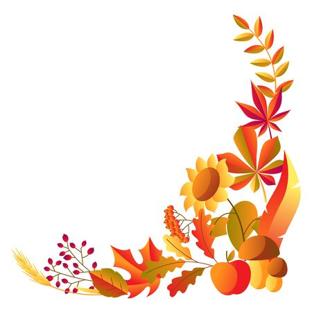 Stylized autumn items. Falling leaves, berries and plants.