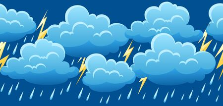 Seamless pattern with thunderstorm. Cartoon illustration of clouds, rain and lightning.