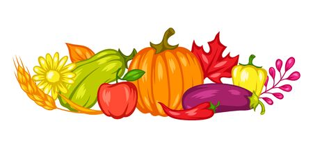 Harvest decorative element with fruits and vegetables. Autumn seasonal illustration.