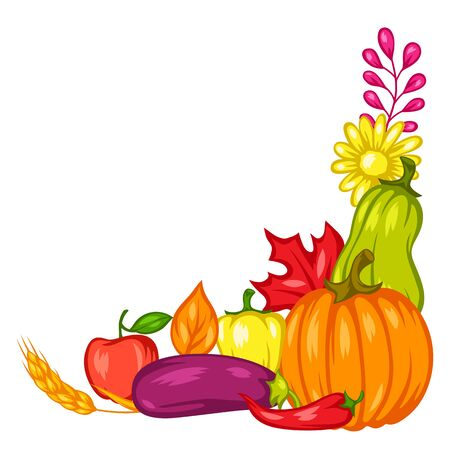 Harvest decorative element with fruits and vegetables. Autumn seasonal illustration. Stockfoto - 129108370