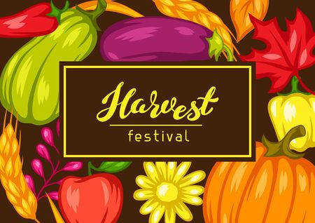 Harvest festival background with fruits and vegetables. Autumn seasonal illustration.