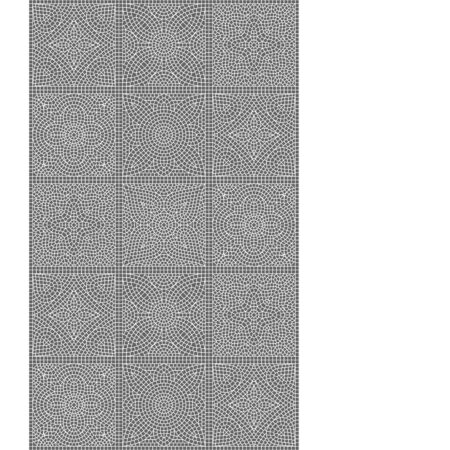Ancient mosaic ceramic tile pattern. Black tessellation ornament. Floral decorative texture.