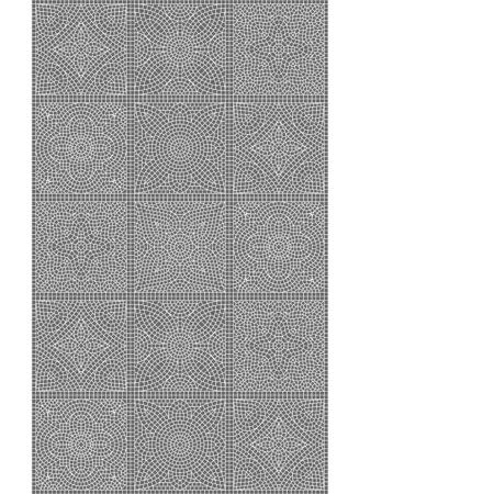 Ancient mosaic ceramic tile pattern. Black tessellation ornament. Floral decorative texture.