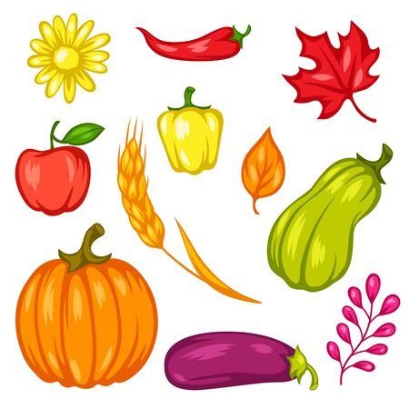 Harvest set of fruits and vegetables. Autumn seasonal illustration. Stock Illustratie