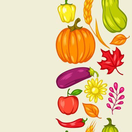 Harvest seamless pattern with fruits and vegetables. Autumn seasonal illustration. Stockfoto - 129108393
